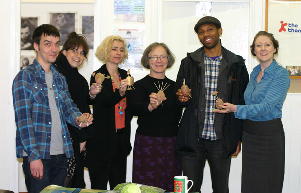 Picture of Vegbox management committee with superhero potato characters