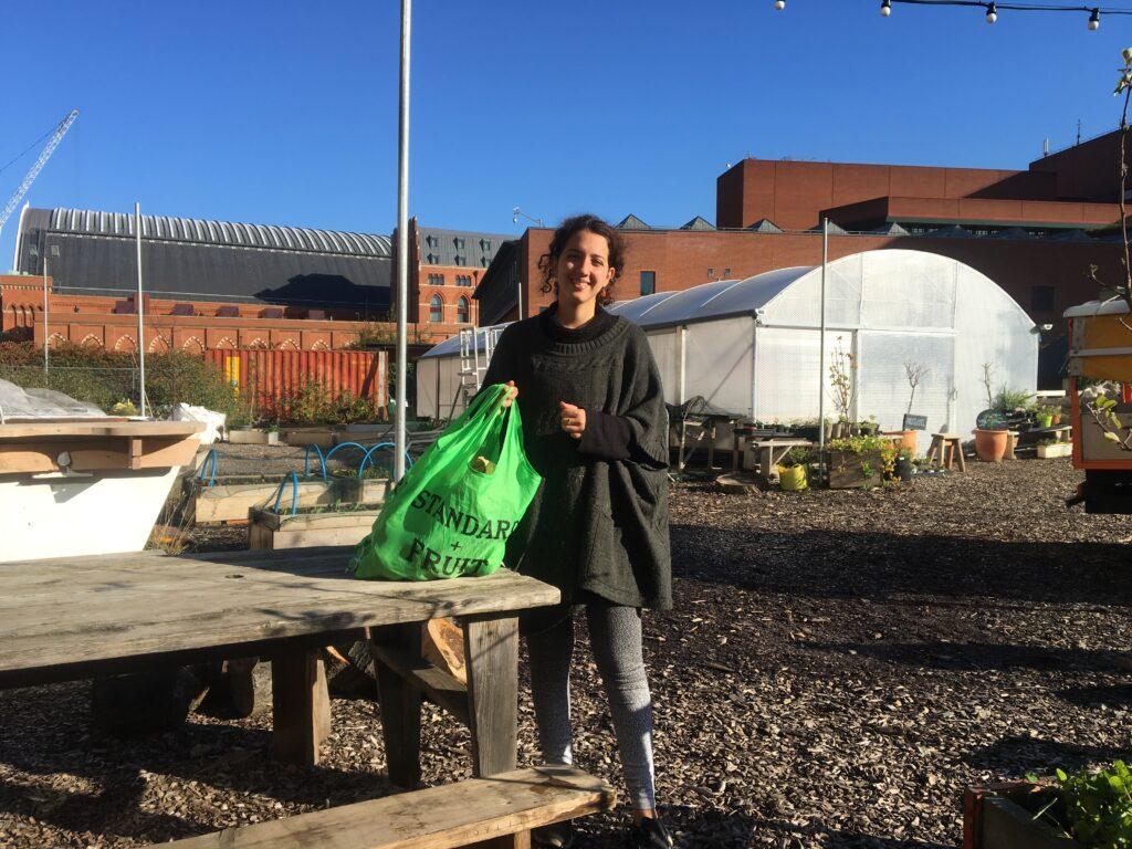 Georgina Story Gardens Holding Kentish Town Vegbox bag